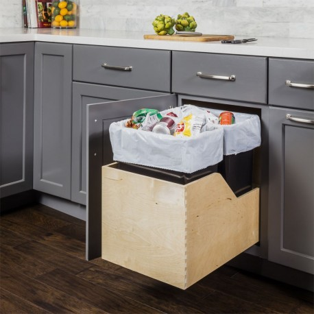 Hardware Resources Preassembled 35 Quart Double Pullout Waste Container System w/ Baltic Birch Plywood
