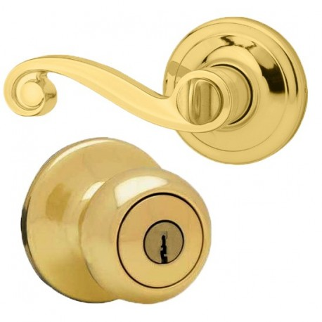 Kwikset 400LL US3 RH RCAL RC RCS Right Handed Keyed Entry Lido Lever in Polished Brass