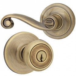 Kwikset 400LL US5 2-3/8 Right Handed Lido Lever Entry in Antique Bronze