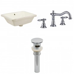 American imaginations AI-13011 CUPC Rectangle Undermount Sink Set In Biscuit With 8-in. o.c. CUPC Faucet And Drain