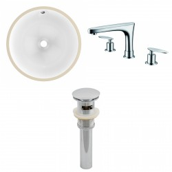 American imaginations AI-13027 CUPC Round Undermount Sink Set In White With 8-in. o.c. CUPC Faucet And Drain