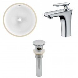 American imaginations AI-13029 CUPC Round Undermount Sink Set In White With Single Hole CUPC Faucet And Drain