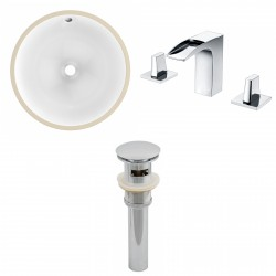 American imaginations AI-13035 CUPC Round Undermount Sink Set In White With 8-in. o.c. CUPC Faucet And Drain