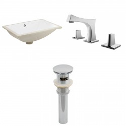 American imaginations AI-13047 CUPC Rectangle Undermount Sink Set In White With 8-in. o.c. CUPC Faucet And Drain