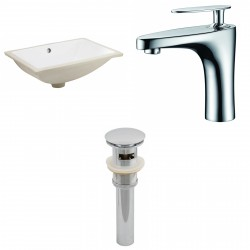 American imaginations AI-13055 CUPC Rectangle Undermount Sink Set In White With Single Hole CUPC Faucet And Drain