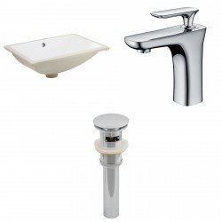 American imaginations AI-13059 CUPC Rectangle Undermount Sink Set In White With Single Hole CUPC Faucet And Drain