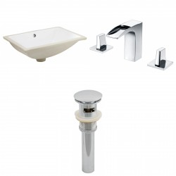 American imaginations AI-13065 CUPC Rectangle Undermount Sink Set In White With 8-in. o.c. CUPC Faucet And Drain