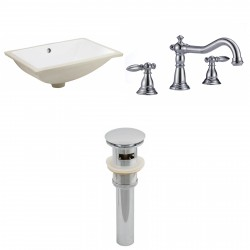 American imaginations AI-13071 CUPC Rectangle Undermount Sink Set In White With 8-in. o.c. CUPC Faucet And Drain