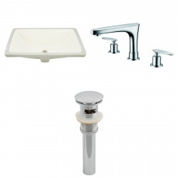 American imaginations AI-13087 CUPC Rectangle Undermount Sink Set In Biscuit With 8-in. o.c. CUPC Faucet And Drain