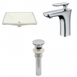 American imaginations AI-13089 CUPC Rectangle Undermount Sink Set In Biscuit With Single Hole CUPC Faucet And Drain