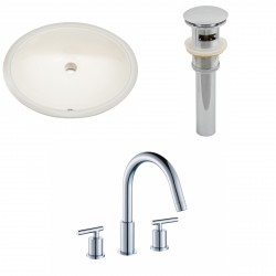 American imaginations AI-13163 CUPC Oval Undermount Sink Set In Biscuit With 8-in. o.c. CUPC Faucet And Drain