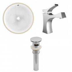American imaginations AI-13165 CUPC Round Undermount Sink Set In White With Single Hole CUPC Faucet And Drain