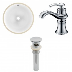 American imaginations AI-13169 CUPC Round Undermount Sink Set In White With Single Hole CUPC Faucet And Drain