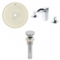 American imaginations AI-13215 CUPC Round Undermount Sink Set In Biscuit With 8-in. o.c. CUPC Faucet And Drain