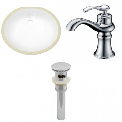 American imaginations AI-13227 CUPC Oval Undermount Sink Set In White With Single Hole CUPC Faucet And Drain