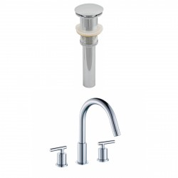 American Imaginations AI-8023 8-in. o.c. CUPC Approved Brass Faucet Set In Chrome Color With Drain