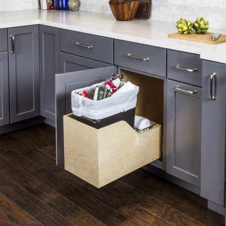 Hardware Resources Preassembled 35 Quart Single Pullout Waste Container System w/ Baltic Birch Plywood