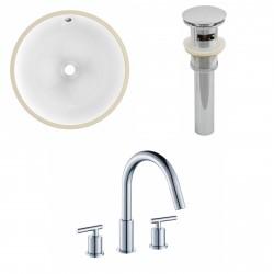 American Imaginations AI-12953 CUPC Round Undermount Sink Set In White With 8-in. o.c. CUPC Faucet And Drain