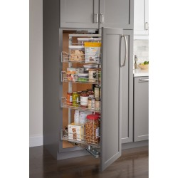 "Hardware Resources 12"" Chrome Pantry Pullout with Swingout Feature and Soft-close Slides"