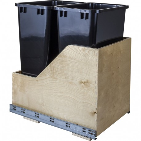 Hardware Resources Preassembled 50 Quart Double Pullout Waste Container System w/ Baltic Birch Plywood