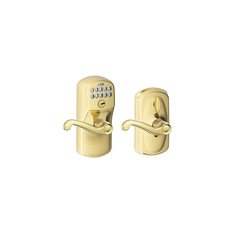 Schlage Plymouth Keypad Entry Lock With Flair Lever And