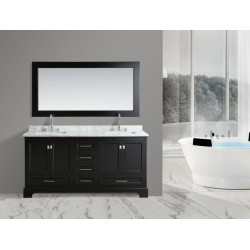 "OMEGA 72"" Double Sink Vanity Set in Espresso"