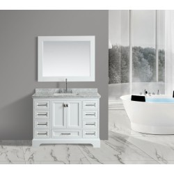 "OMEGA 48"" Single Sink Vanity Set in White"