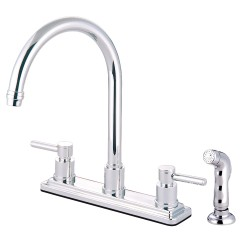 Kingston Brass KS8791DL Concord Two Handle Kitchen Faucet w/ Matching Finish Plastic Sprayer