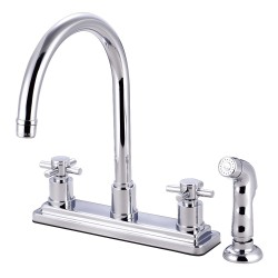 Kingston Brass KS879 Concord Two Handle Kitchen Faucet w/ Matching Finish Plastic Sprayer