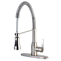 "Kingston Brass GSY887 Gourmetier Continental 8"" Centerset Single Handle Kitchen Faucets w/ Pull-Down Sprayer"