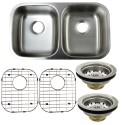 Kingston Brass KZGKUD3118 Gourmetier Undermount Double Bowl Kitchen Sink Combo w/ Strainer & Grid