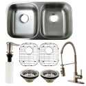 Kingston Brass KZGKUD3118F Gourmetier Undermount Double Bowl Kitchen Sink & Faucet Combo w/ Strainer, Grid & Soap Dispenser