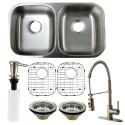 Kingston Brass KZGKUD3118F Gourmetier Undermount Double Bowl Kitchen Sink & Faucet Combo w/ Strainer, Grid & Soap Dispenser