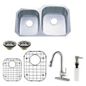 Kingston Brass KZGKUD3221RHF Gourmetier Undermount Double Bowl Kitchen Sink & Faucet Combo w/ Strainer, Grid & Soap Dispenser