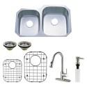 Kingston Brass KZGKUD3221RHF Gourmetier Undermount Double Bowl Kitchen Sink & Faucet Combo w/ Strainer, Grid & Soap Dispenser
