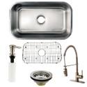 Kingston Brass KZGKUS3018F Gourmetier Undermount Single Bowl Kitchen Sink & Faucet Combo w/ Strainer, Grid & Soap Dispenser