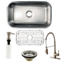 Kingston Brass KZGKUS3018F Gourmetier Undermount Single Bowl Kitchen Sink & Faucet Combo w/ Strainer, Grid & Soap Dispenser