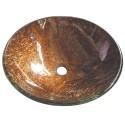 "Kingston Brass EVSPFD1 Fauceture Trieste 16-1/2"" Diameter Round Vessel Glass Sink, Amber Bronze"