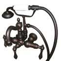 "Kingston Brass CC1007 Vintage 3-3/8"" Wall Mount Clawfoot Tub Filler w/ Hand & Shower w/ metal levers"