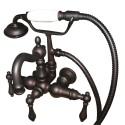 "Kingston Brass CC1007 Vintage 3-3/8"" Wall Mount Clawfoot Tub Filler w/ Hand & Shower w/ metal levers"