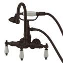 "Kingston Brass CC11T Vintage 3-3/8"" Wall Mount Clawfoot Tub Filler w/ Hand & Shower w/ porcelain lever"