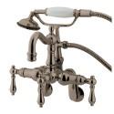 "Kingston Brass CC130 Vintage 3-3/8"" - 9"" Adjustable Center Wall Mount Clawfoot Tub Filler w/ metal levers"