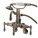 "Kingston Brass CC130 Vintage 3-3/8"" - 9"" Adjustable Center Wall Mount Clawfoot Tub Filler w/ metal levers"