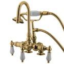 "Kingston Brass CC1 Vintage 3-3/8"" Deck Mount Clawfoot Tub Filler w/ porcelain lever"