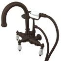 "Kingston Brass CC301 Vintage 3-3/8"" Wall Mount Clawfoot Tub Filler w/ H&C Porcelain levers"