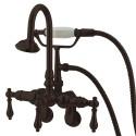 "Kingston Brass CC30 Vintage 3-3/8"" - 9"" Adjustable Center Wall Mount Clawfoot Tub Filler w/ metal levers"