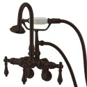 "Kingston Brass CC30 Vintage 3-3/8"" - 9"" Adjustable Center Wall Mount Clawfoot Tub Filler w/ metal levers"