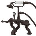 "Kingston Brass CC4 Vintage Adjustable 3-3/8"" - 10"" Center Deck Mount Clawfoot Tub Filler w/ metal levers"