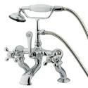 "Kingston Brass CC41 Vintage Adjustable 3-3/8"" - 10"" Center Deck Mount Clawfoot Tub Filler w/ metal cross"