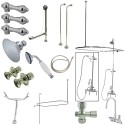 Kingston Brass CCK214 Vintage High Rise Gooseneck Clawfoot Tub & Shower Package w/ Metal Lever Handles